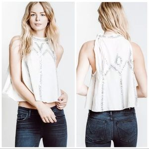 •FREE PEOPLE• White Glitter City Cotton Swing Tank